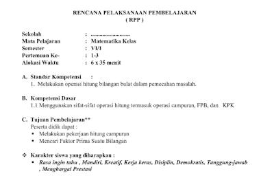 RPP Silabus Program Tahunan dan Program Semester KKM SK dan KD Kelas 6 SD Mapel Matematika  berkas MS Word