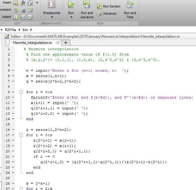 Hermite interpolation using MATLAB - MATLAB Programming