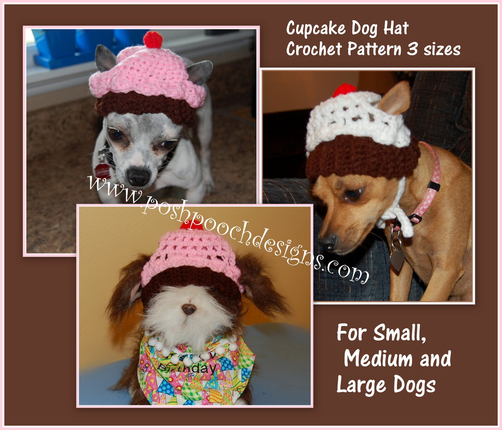 Posh Pooch Designs Dog Clothes  Dog Hat Crochet Patterns For Small ... da00828dc51d