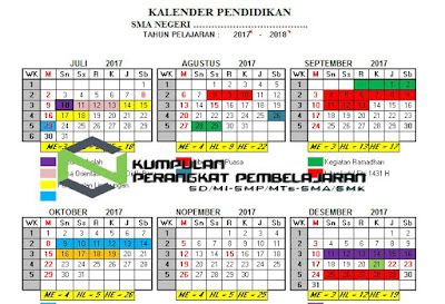 Kalender Pendidikan Tahun Pelajaran 2017/2018 SD SMP SMA SMK