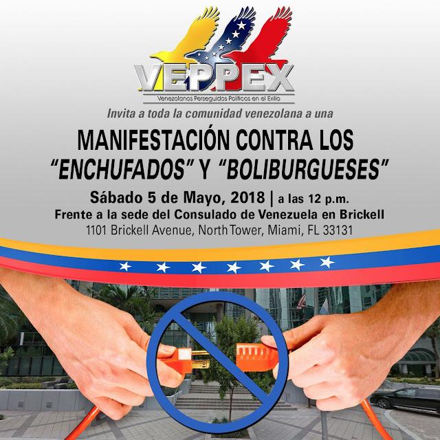 EXILIO VENEZOLANO EN MIAMI CONVOCA A PROTESTA CONTRA LOS ENCHUFADOS EN ESTADOS UNIDOS