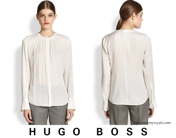 Queen Letizia wore Hugo Boss Banora2 Silk Blouse