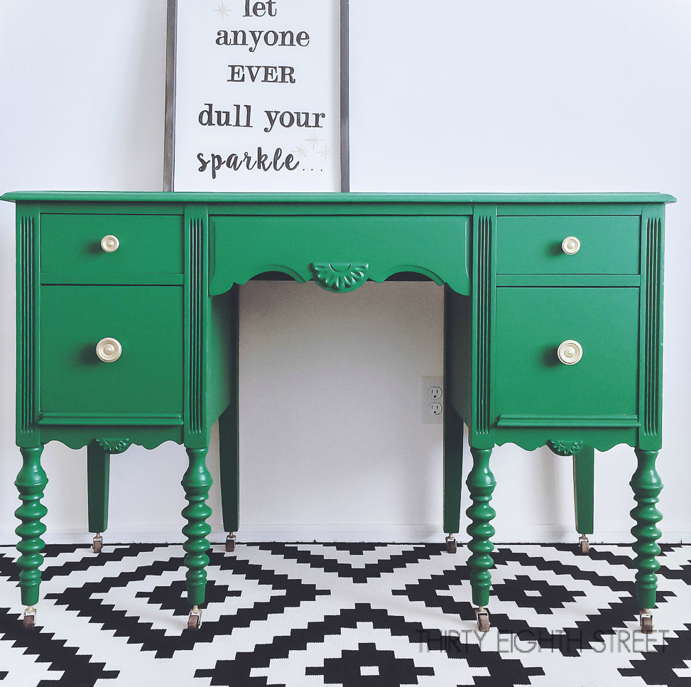 Furniture Flip Desk Makeover Painted Refinished Emerald Green General