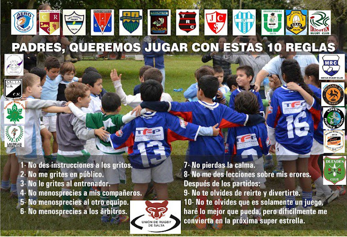 Padres, queremos jugar con estas 10 reglas - Unión de Rugby de Salta