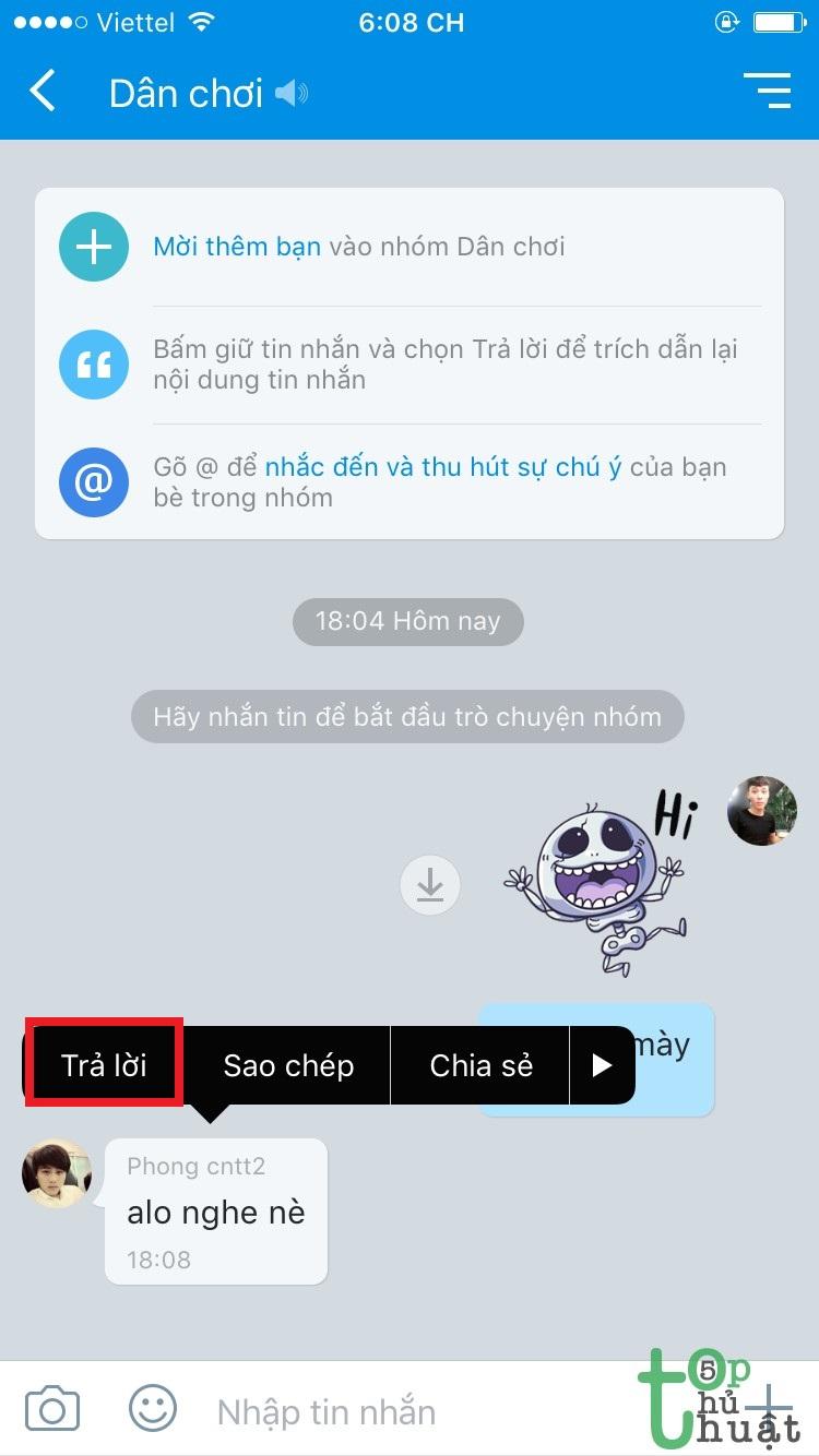 Zalo chat gay Chat nhóm