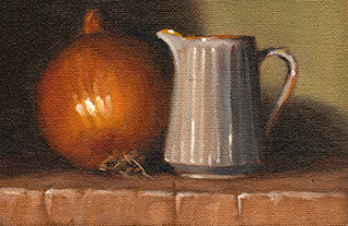 Oil painting of a brown onion beside a small white ceramic fluted jug.