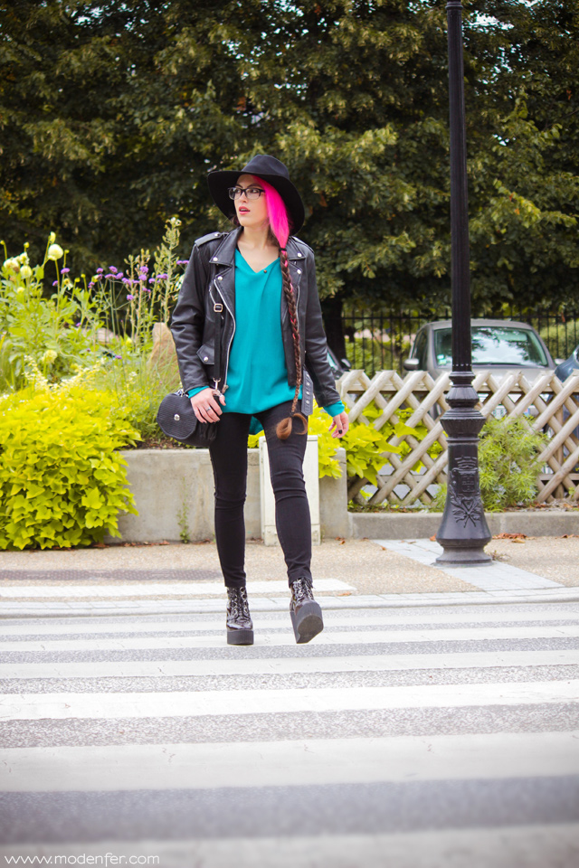 modenfer, moda, blog, blog modowy, zestaw, look, ootd, outfit, metal, metalgirl, paryż, francja, moda paryska, moda francuska, blog, blogging, różowe włosy, róż, moda alternatywna, kapelusz, wełna, skóra, skórzana kurtka, bloggerka, blogueuse, blogger, fashion blogger, france, paris, french, parisian, frenchie, styl, paryski styl, mode, tendances, chapeau, veste en cuir
