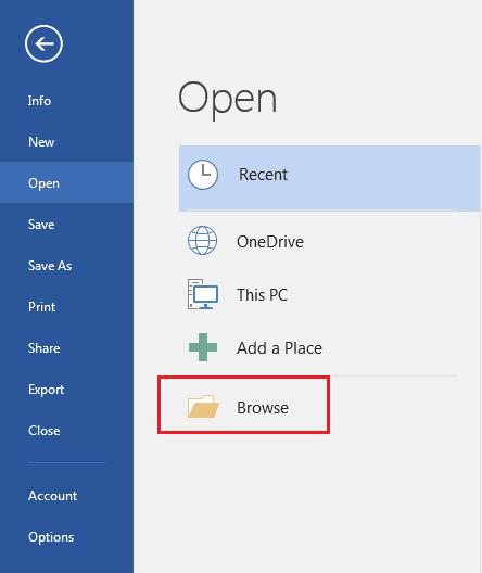 pilih browse untuk mencari file dan membukanya