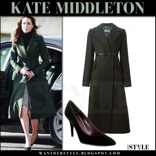Kate Middleton in dark green wool long coat sportmax what she wore winter style