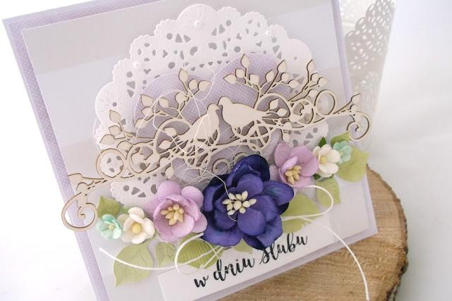 Fioletowa kartka ślubna