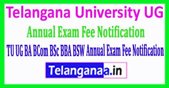 TU UG BA BCom BSc BBA BSW Annual Exam Fee Notification 2018