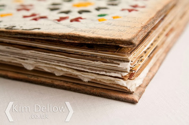 View of the pages of the Moroccan tile inspired Travel art journal by Kim Dellow