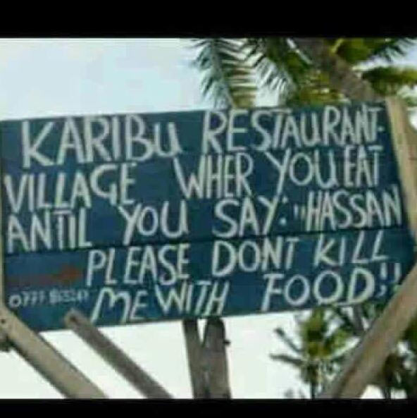 Check out the signpost on this resturant