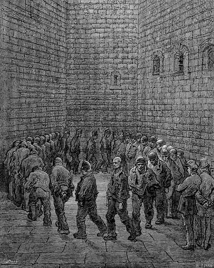 a Gustave Dore illustration of 1877 Newgate prison in London