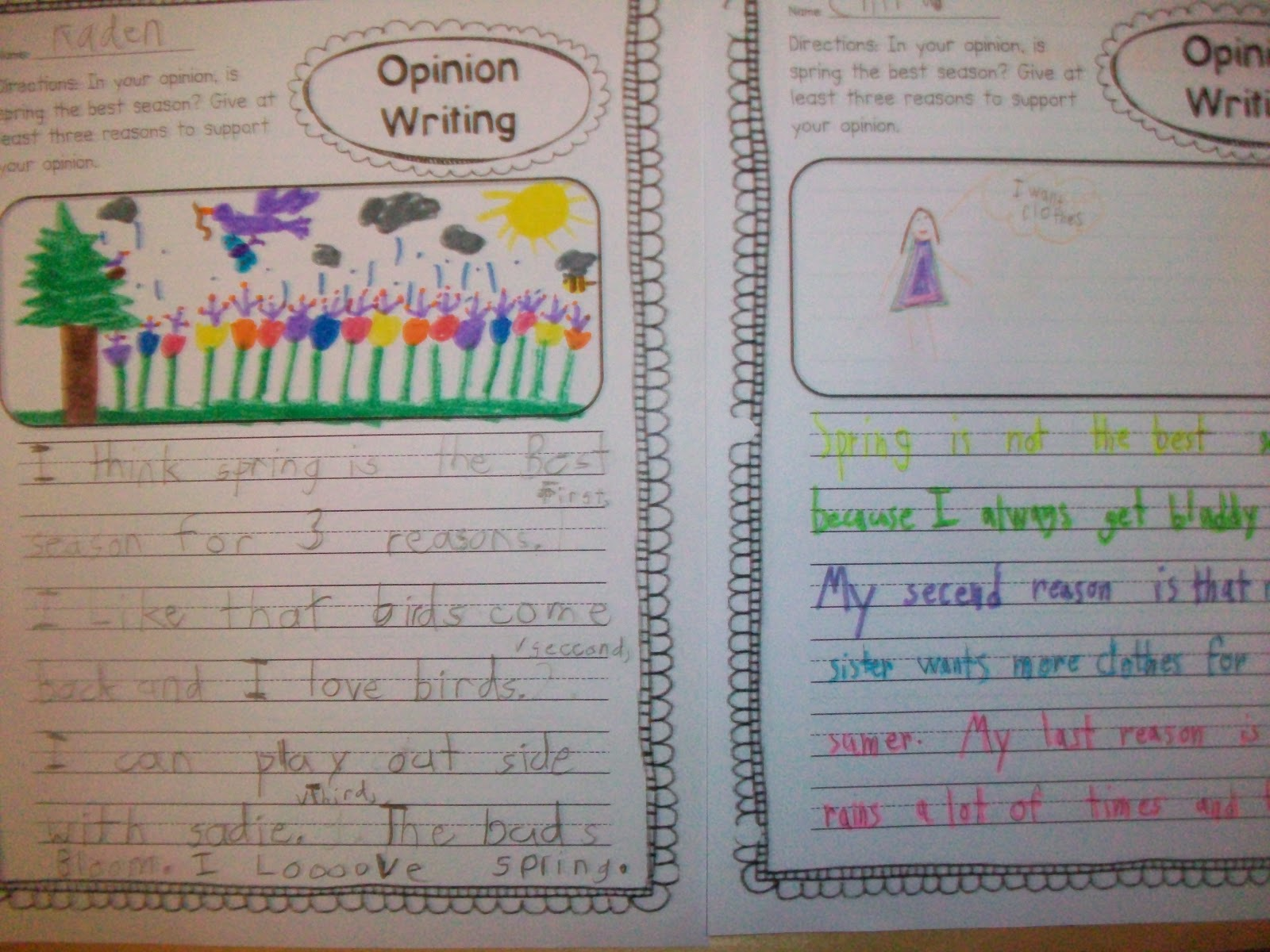 Sarah S First Grade Snippets Opinion Writing