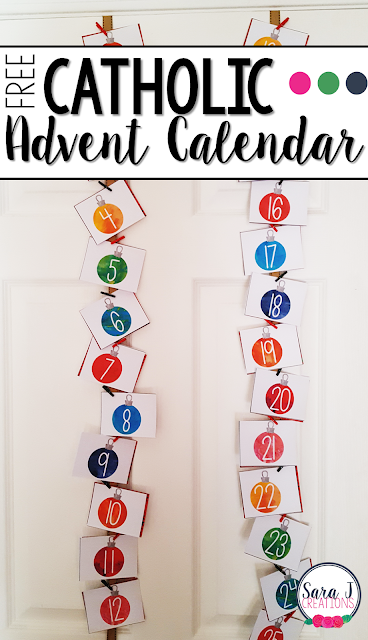 Free printable Catholic Advent calendar with Christmas related activities including Bible passages and prayers that are perfect for the home or classroom in the weeks leading up to Christmas. #advent #adventcalendar #Christmas #catholic #sarajcreations