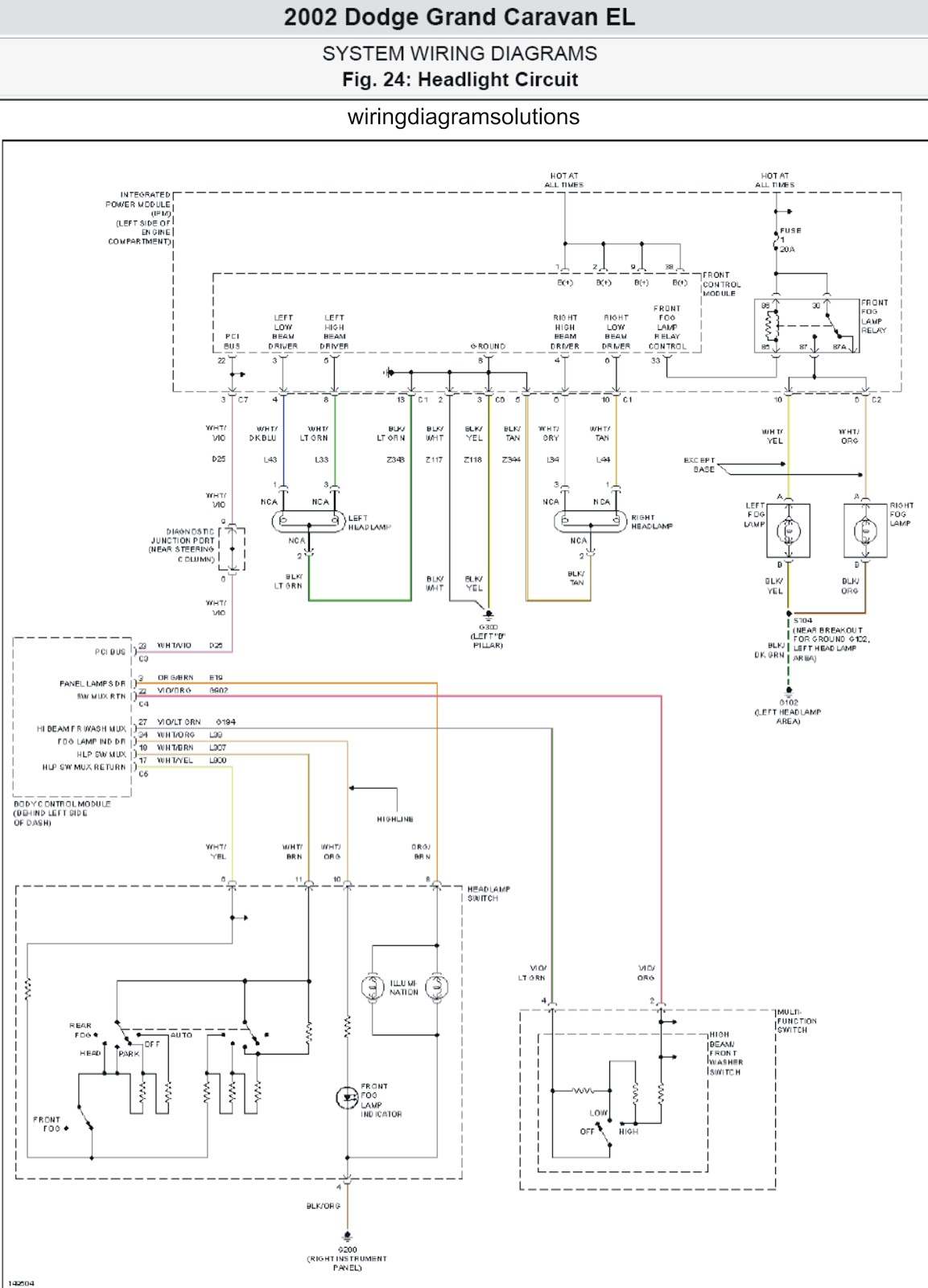 2002 Dodge Grand Caravan El System Wiring Diagrams Headlight Circuit