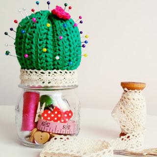 cactus crochet alfiletero costura