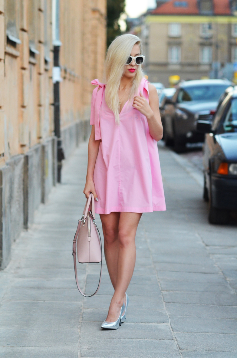 BUBBLE GUM PINK DRESS + SILVER HEELS