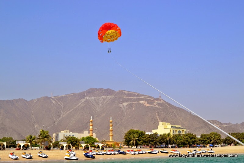 scary but fun parasailing adventure in Khorfakkan