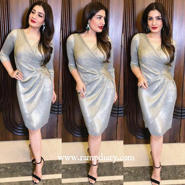 Raveen Tandon in Ritu Kumar Silver Dress