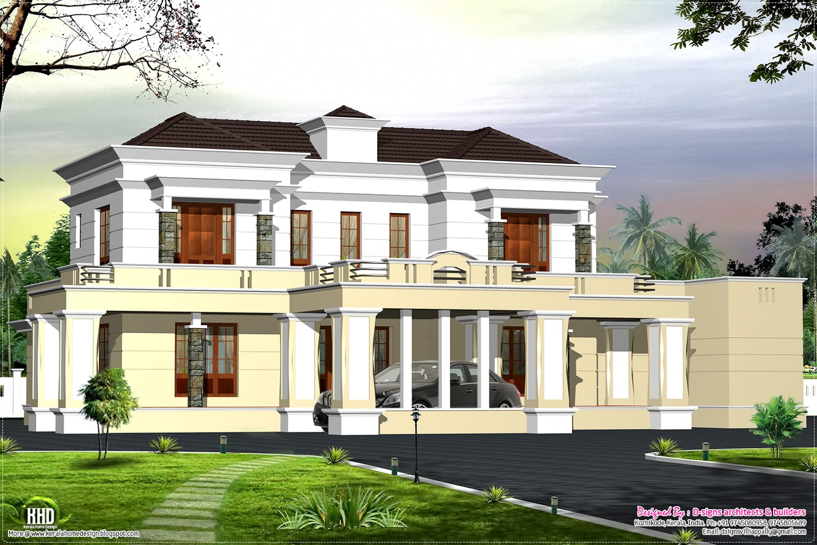 Victorian style luxury home design kerala home design for Luxury home architect