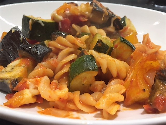 A close up of a portion of Mediterranean Vegetable Pasta Bake