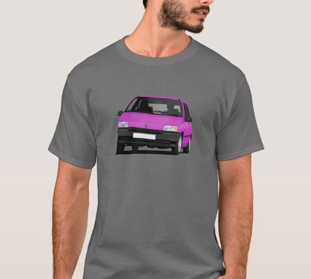 Zazzle Renault Clio illustration pink t-shirts