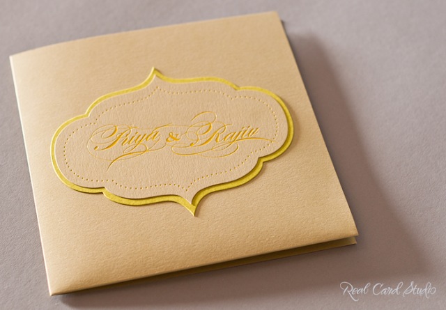 Hindu wedding, South Asian Wedding, foil printing, die-cut Ogee, Pocket folder