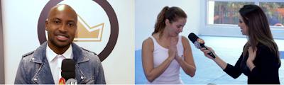 Thiaguinho / Mônica Fonseca conversa com a professora de Yoga infantil (Foto: Divulgação SBT)