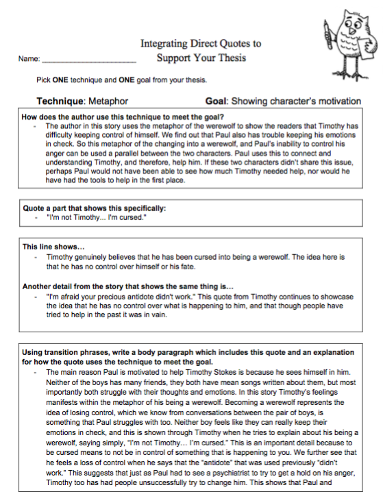 Ms Olsens Ela Blog 17 18 Integrating Direct Quotes To Support