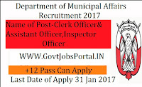Department of Municipal Affairs Recruitment 2017 for Clerk Officer Post