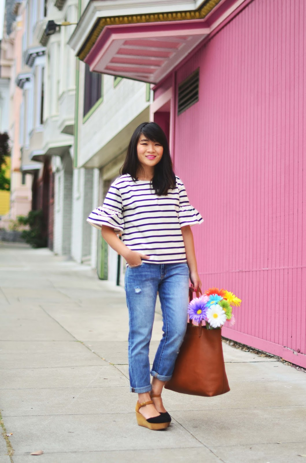 pink wall jcrew striped bell sleeve shirt madewell transport tote