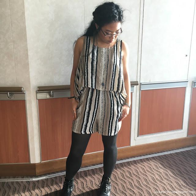OOTD Fall Striped Romper Fashion Mia - Andrea Tiffany A Glimpse of Glam