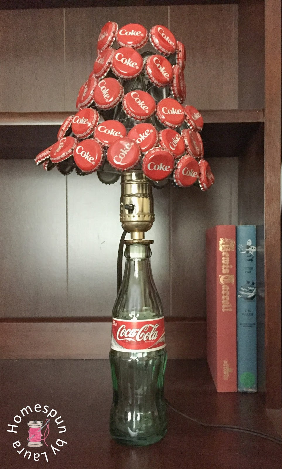 Coke bottle lamp and bottle cap lampshade homespun by laura at that point all that was left to do was tuck in the excess wire and add my new lampshade onto my existing lampand tah dah its a brand new arubaitofo Image collections