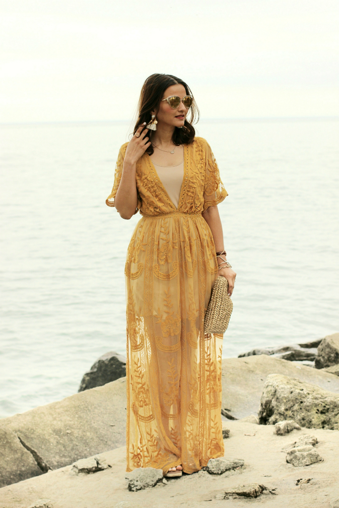 Morning Lavender Mila Marigold Lace Maxi Jumpsuit Yellow Mustard Lace Maxi Dress Blogger Outfit