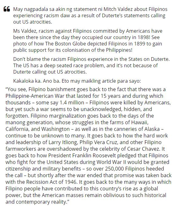 Blogger Blasted Out After The Actress Mitch Valdez Claimed That FIlipinos Are Experiencing Racism In US In The Wake Of Duterte's Statements!