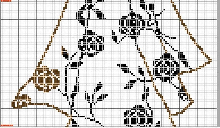 Филейная штора с розочками (4)