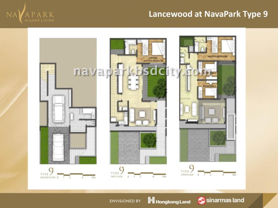 Denah Lantai Tipe 9 Lancewood Nava Park BSD