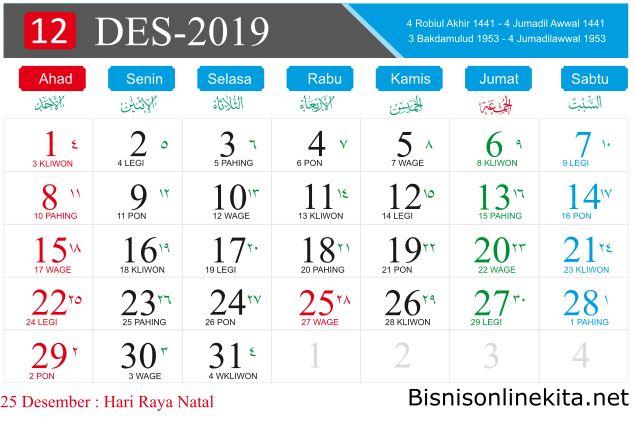 kalender 2019 desember