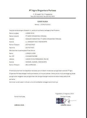 Contoh surat kuasa dinas atasan pada bawahan