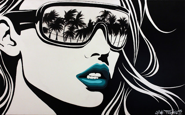 Painting of black and white pop art style portrait of woman wearing sunglasses with reflection of Los Angeles beach scene in lenses, turquoise lips and windswept hair. Painting by Canadian artist Shane Turner.