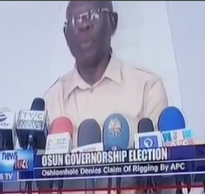 Video: APC National chairman, Adams Oshiomole, mistakenly mentioned rigging while speaking on Osun state rerun election