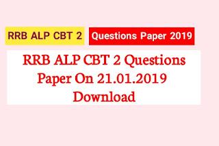 RRB ALP CBT 2  Question Paper 21.01.2019