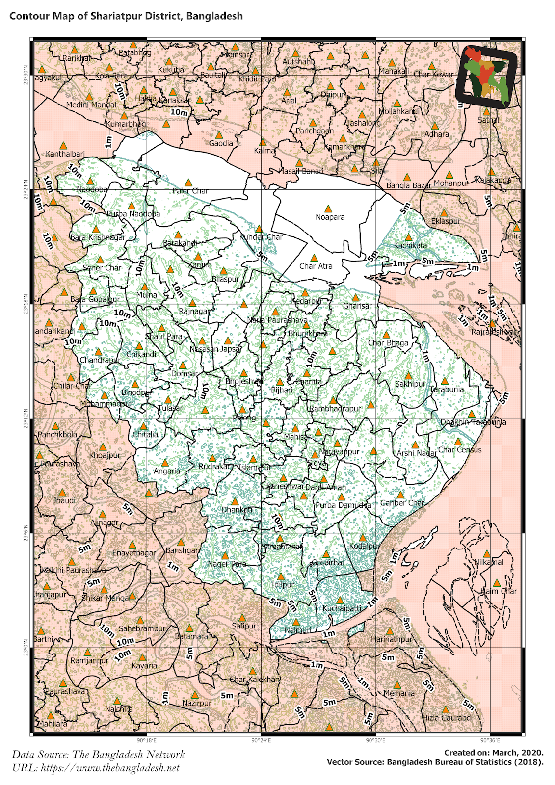 Elevation Map of Shariatpur District of Bangladesh