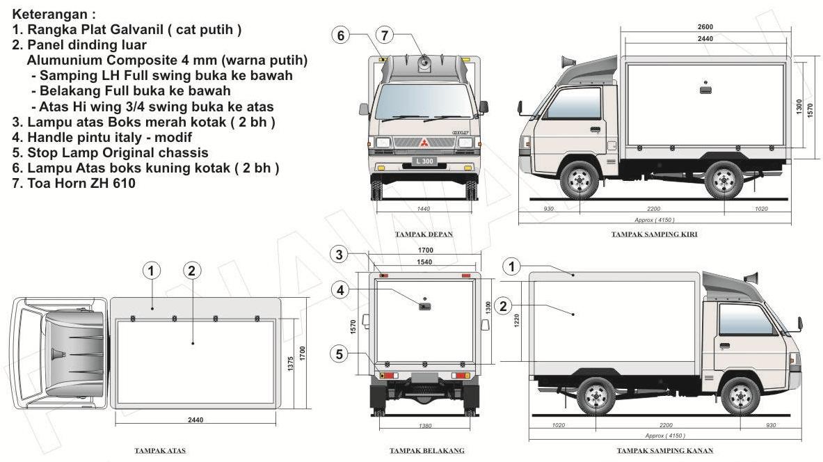 Berikut Adalah Salah Satu Desain L300 Box Mitsubishi Karoseri Minibus