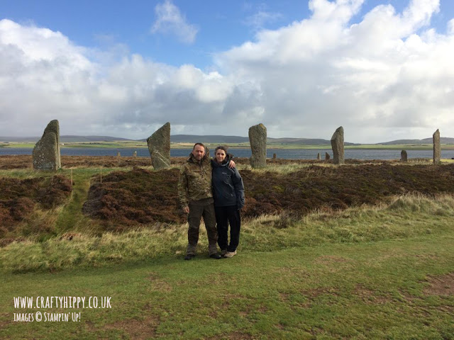 Mr Hippy and I standing by the Ring of Brodgar, which is about 5 miles from Stromness, Orkney