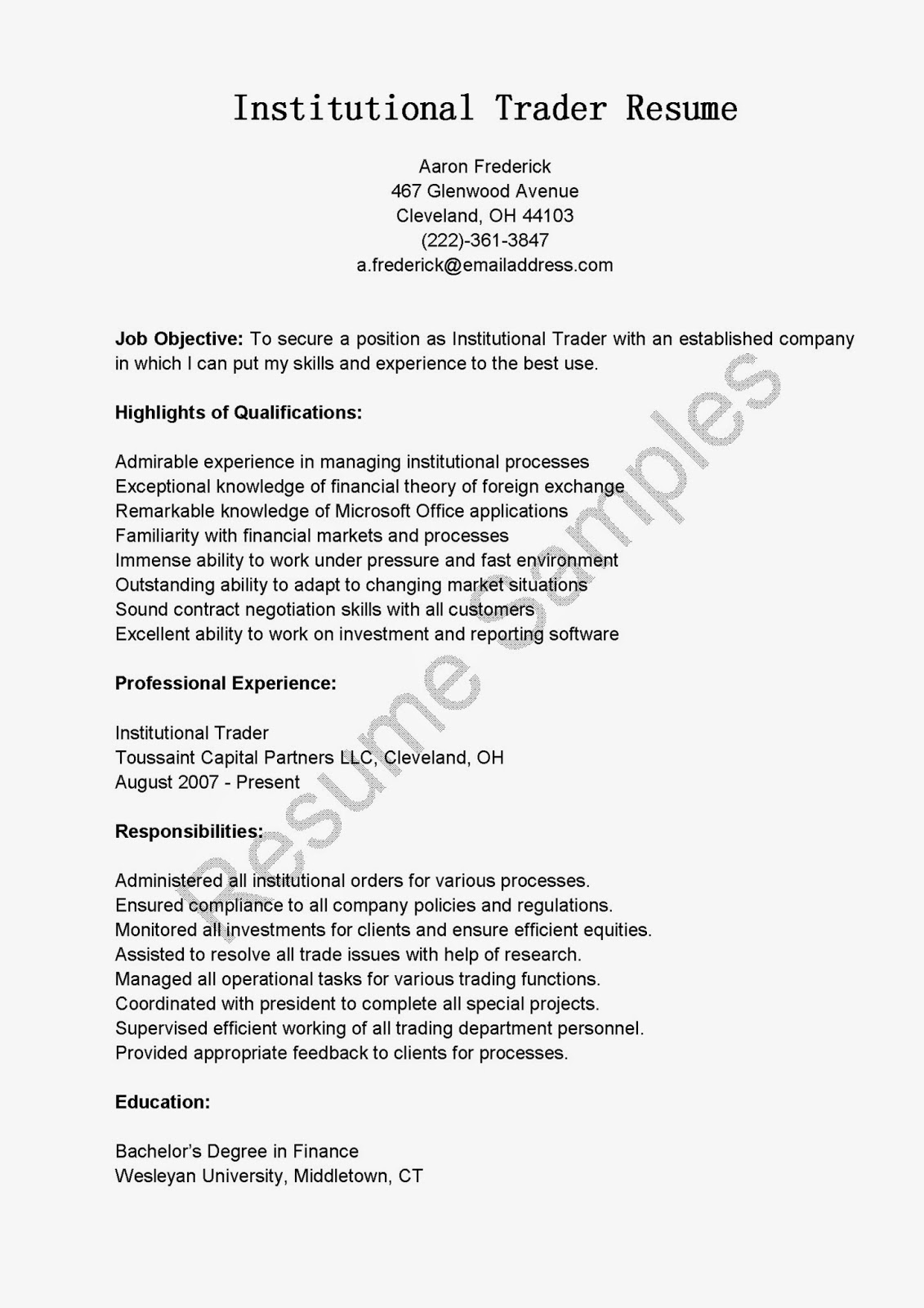 Forex dealer resume