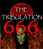 The Tribulation and the Great Tribulation featuring 666, a blood moon and the face of Death amidst fire