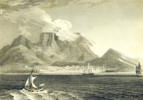 Cape Town and the Table Mountain  from A New Geographical Dictionary by JW Clarke (1814)